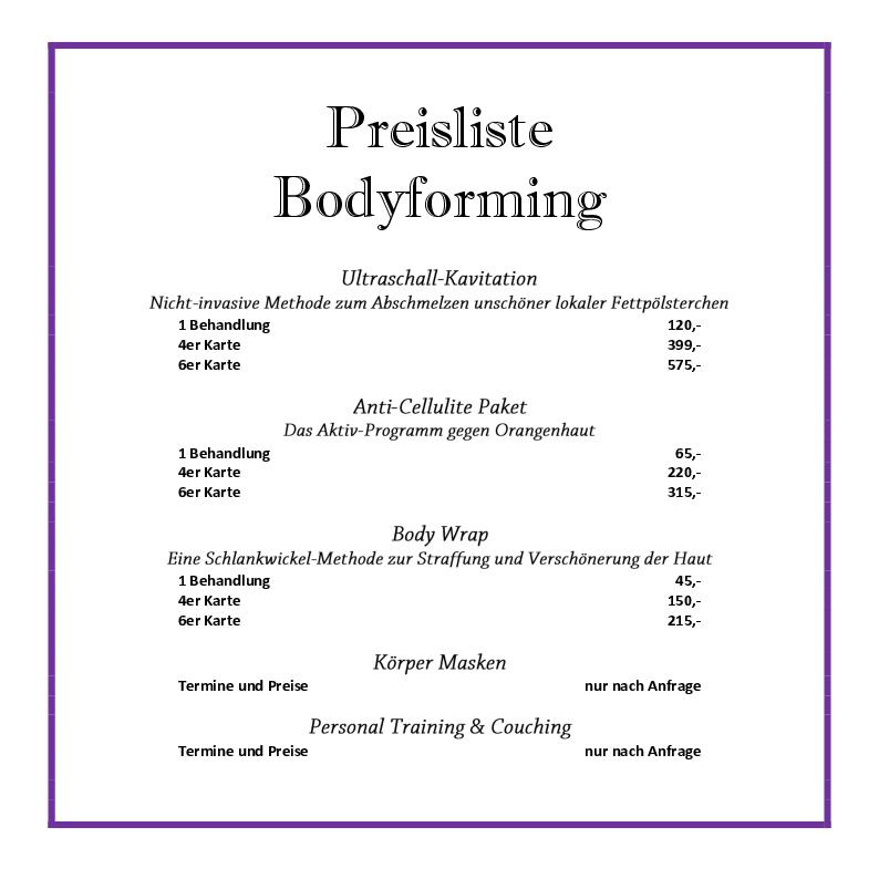Preisliste Bodyforming web